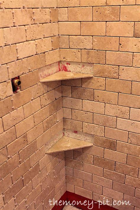 master bathroom week 5 installing shower shelves the