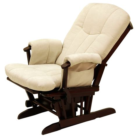 Rocker Glider Recliner Storkcraft Deluxe Reclining Glider Rocker Cherry Beige Gliders Nursery Rockers At Hayneedle