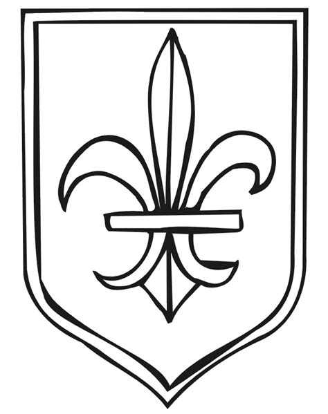coat of arms coloring page with fleur de lis