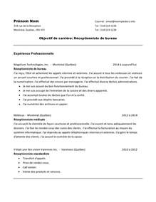 Reception Resume Sles by Exle Resume Exemple Cv Reception