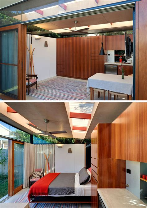 impressive backyard shed combines living quarters  bathroomlaundry   indoor