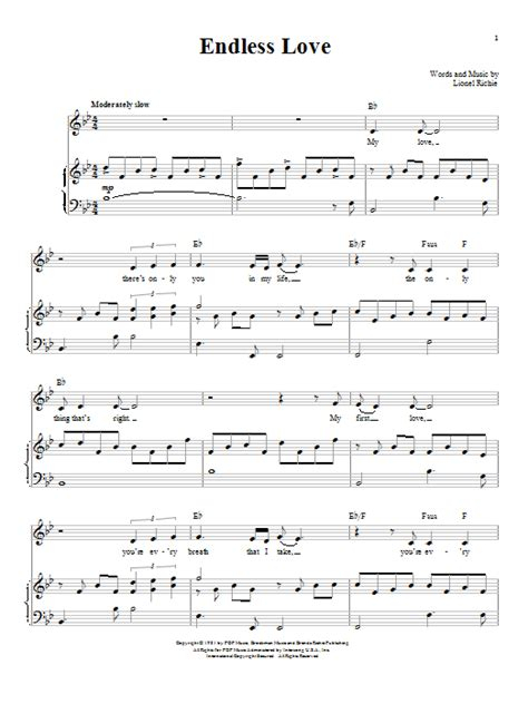 endless love by l richie sheet music on musicaneo endless love sheet music direct