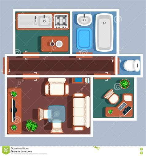 wohnung clipart apartment floor vector plan with furniture stock vector