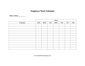 work hours for employees openoffice template