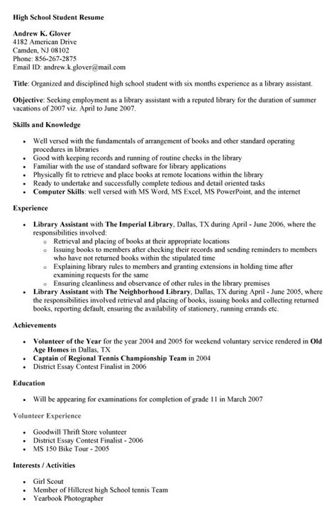 best photos of template of high school resume high