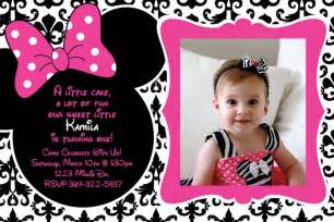 1st birthday invitations minnie mouse drevio invitations design