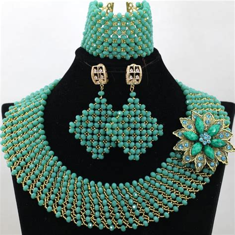 Latest style Handmade Teal Green Beads African Beads Jewelry Sets Nigerian Wedding Bridal Lady