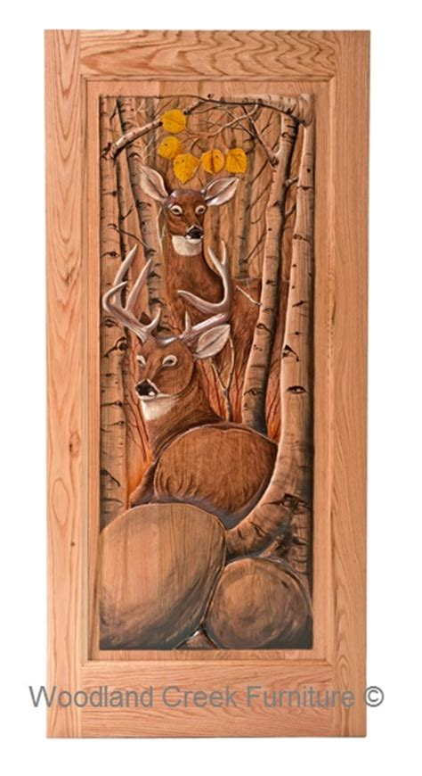 Rustic carved screen door with buck amp doe in forest woodland creek furniture
