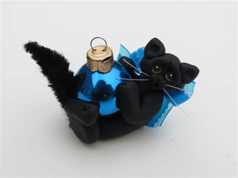 black cat christmas ornament figurine polymer by