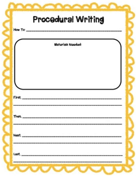 procedure writing templates procedural writing template by primary printables tpt