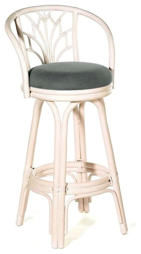 Coastal Style Bar Stools by Indoor Swivel Rattan Wicker Counter Stool W Cushion