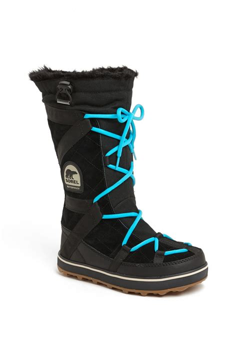 sorel glacy explorer waterproof boot in black lyst