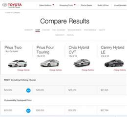 Compare Toyota Models You Can Now Compare Prius 2016 W Other Toyota Models
