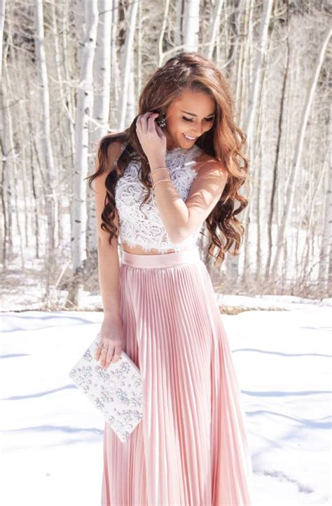 Lace Pink Crop Top Skirt Gaun Malam Dress Baju Pesta Import blush and lace combination to try miss rich