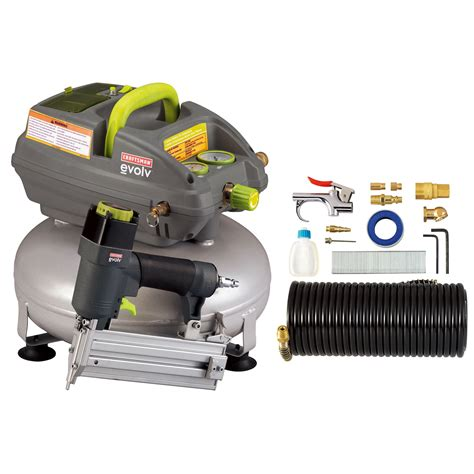 evolv 42081 3 gallon pancake air compressor with 2 in brad nailer and accessory kit sears