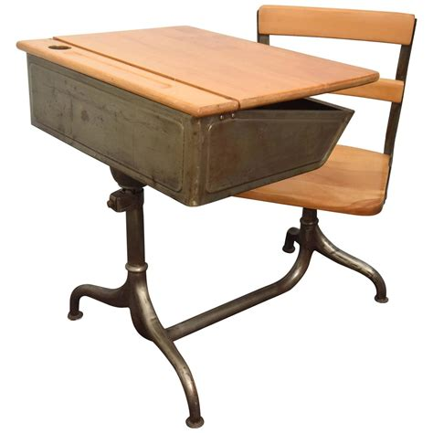 School Desk For Sale Child S School Desk With Attached Chair For Sale At 1stdibs