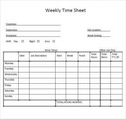 weekly timesheet template sle weekly timesheet template 9 free documents