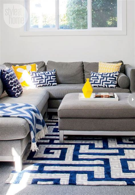 Yellow And Blue Living Room Ideas - interior cheerful contemporary family home in 2019