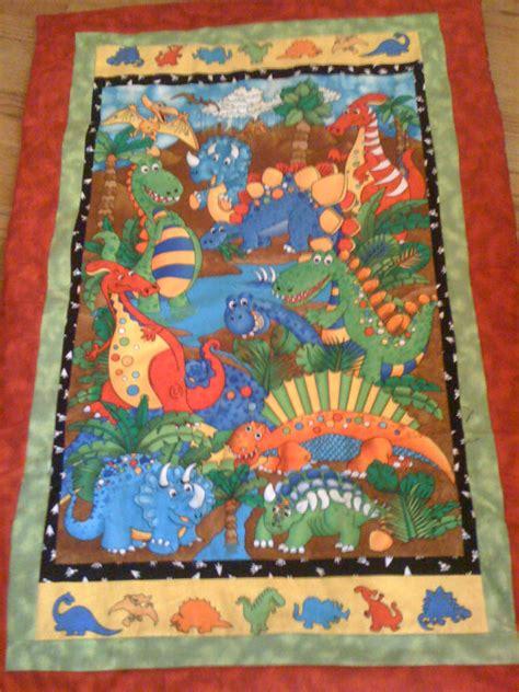 Dinosaur Quilt by Reversible Flannel Dinosaur Quilt By Prettycraftybylinda