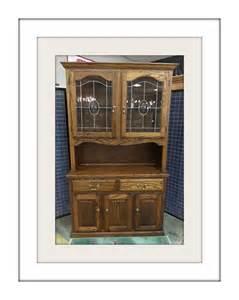 oak 2 china hutch w leaded glass doors by