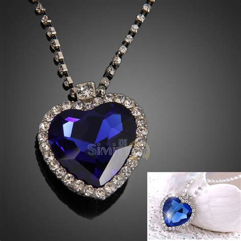 titanic film jewellery moive titanic pretty diamond heart of ocean blue crystal