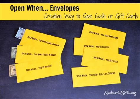 Best Cash Gift Cards - open when envelopes thoughtful gifts sunburst giftsthoughtful gifts sunburst