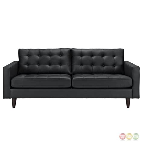 contemporary black leather sofa empress contemporary button tufted leather sofa black