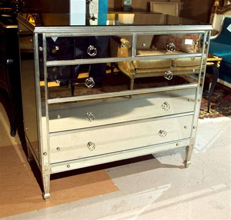 silver mirrored chest of drawers vintage silver leaf with mirrored chest of drawers at 1stdibs