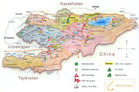 kirgistan map kyrgyzstan community based tourism