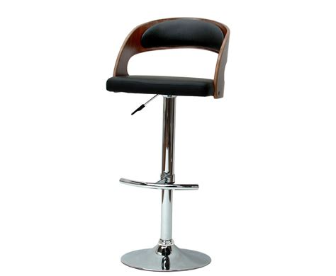 dieppe walnut and black faux leather bar stool