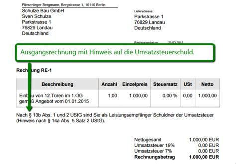 Musterrechnung Bauleistungen 13b One Update Rechnungen Nach 167 13 B Ustg One