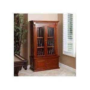 Display Cabinet With Glass Doors And Drawers Wood Gun Cabinet Walnut 12 Gun Display Lighting Drawers