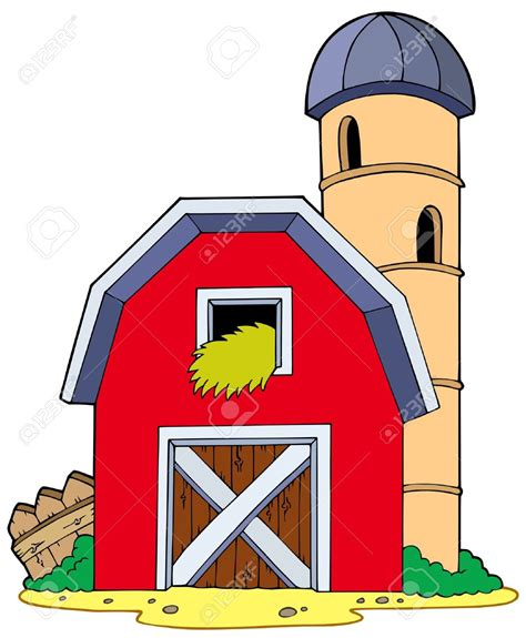 scheune comic farm clipart farmhouse pencil and in color farm