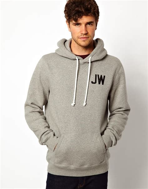 asos wills hoody with jw back print in gray for greymarl lyst