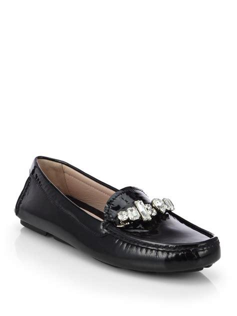 patent leather loafers miu miu swarovski patent leather loafers in black
