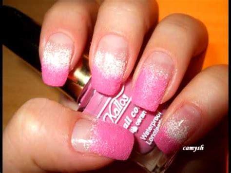 easy nail art using sponge pink white sponge manicure nail art tutorial youtube