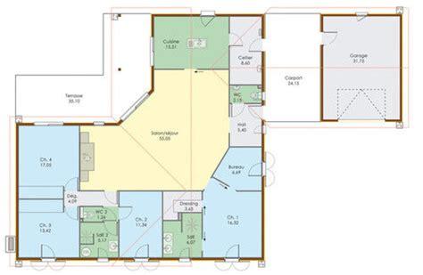plan de maison plain pied 5 chambres plan maison 5 chambres plain pied