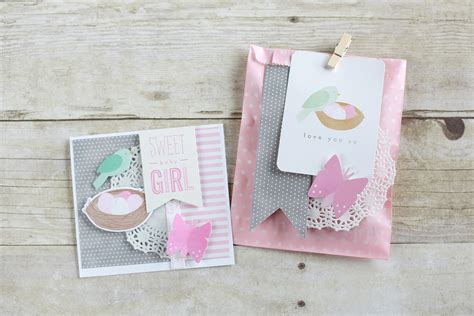 Handmade Baby Card - handmade baby card and bag pebbles inc