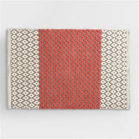 Coral Bath Rugs Coral And Gray Chenille Bath Mat World Market