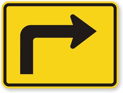 right directional arrow sign sharp turn sign, sku: x w16 6pr