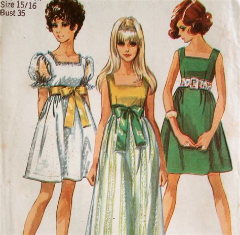 free pattern empire waist dress vintage 60s mod empire waist dress pattern simplicity 8061
