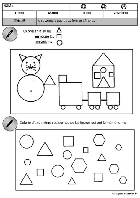 Formes Maternelle Moyenne Section Grande Section