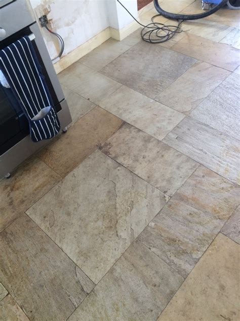 cleaning very dirty riven slate kitchen tiles stone