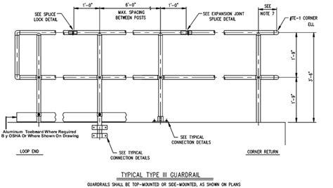 Osha Handrail Post Spacing osha handrail standard drawing