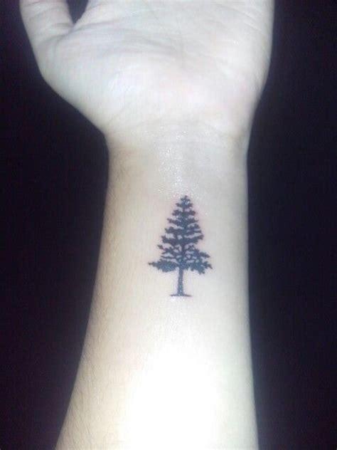 small pine tree tattoo pine tree wrist hiking cing muki babi