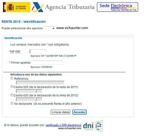 agencia tributaria borrador c 243 mo presentar la declaraci 243 n de la renta 2012