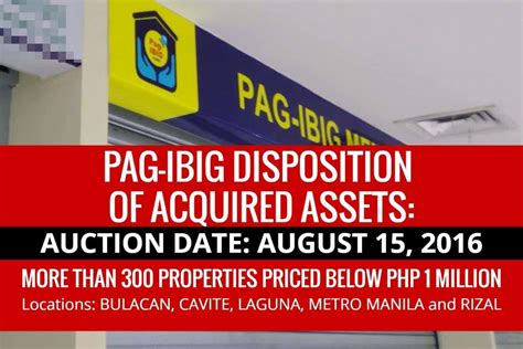pag ibig housing loan acquired assets pag ibig ncr to dispose acquired assets via sealed public