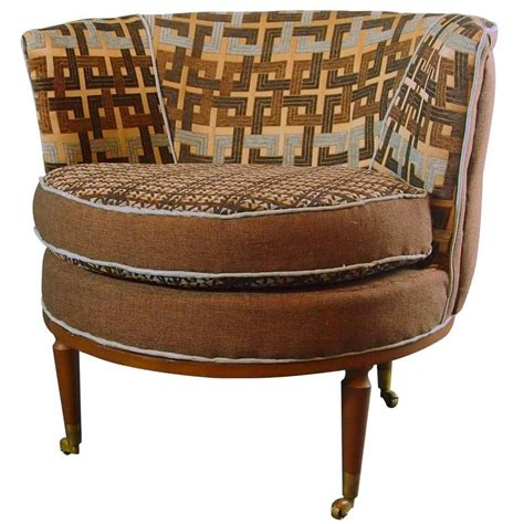 Mid Century Barrel Chair by Mid Century Barrel Chairs In Brown And Blue For Sale At
