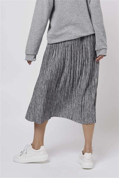 topshop marl pleat midi skirt in gray lyst