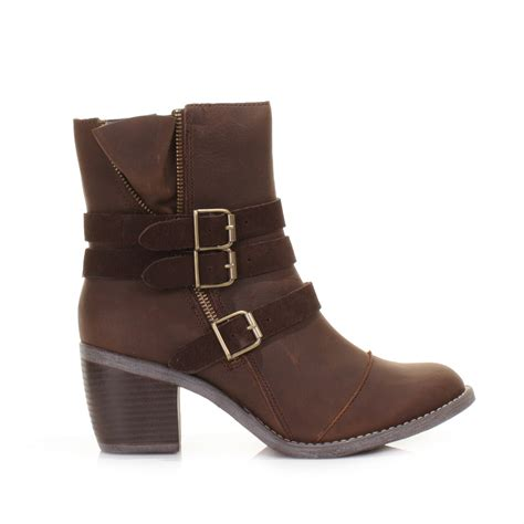 womens hush puppies rustique brown leather ankle
